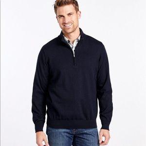 LL bean Cotton cashmere 1/4 zip pullover sweater